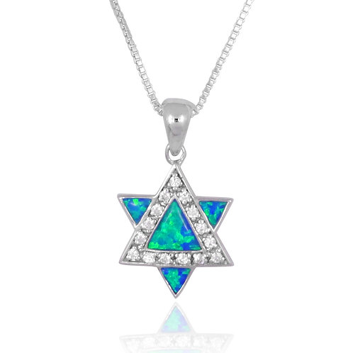 NP0834-OP - CZ and S Blue Opal Star of David Pendant