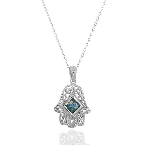 NP11852-RG - Sterling Silver Roman Glass Pendant - Gemstone Jewelry - Hamsa Hand