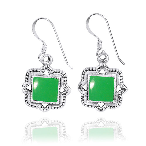 NEA3765-CRP - Elegant Retro Square Earring with Chrysoprase  Stones