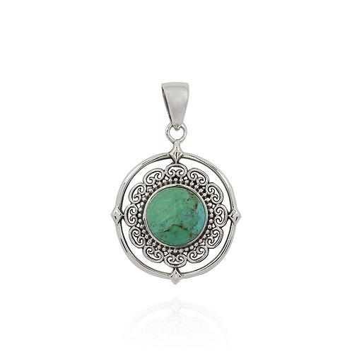 NP12049-BCTQ- Unique Floral Turquoise Pendant