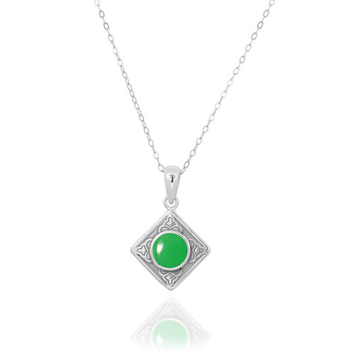 NP12361-CRP - Ethnic Square Design Silver Pendant with a Round Chrysoprase Piece