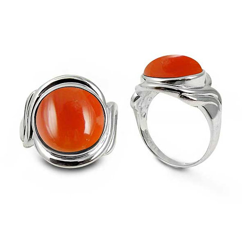 [NRB6617-CAR] Sterling Silver Ring with Round Carnelian