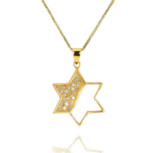 [NP8782-WHDIA-14K] Modern Gold and Diamonds Star of David Pendant