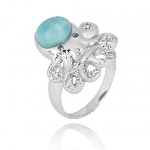 [NRB7221-LAR-LBLT-WHCZ] Sterling Silver Octopus with Larimar and London Blue Top