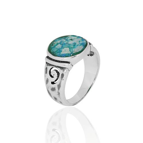NRB8803-RG -  Round Shape Roman Glass Elegant Ethnic Ring