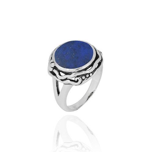 NRB8801-LAP  -  Round Shape Lapis Lazuli Contemporary Ring