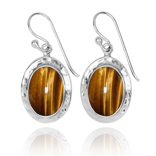 NEA3724-BRTE -Oval Classic Earrings with Tiger Eye stones