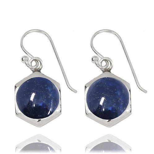 NEA3715-LAP - Classic Hexagon Earrings with Lapis Lazuli Stones