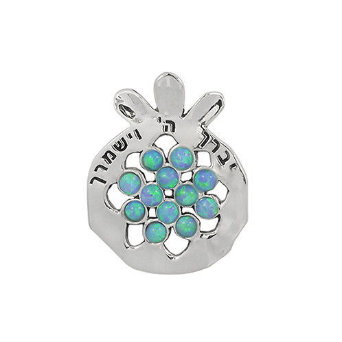 NP11909-LAP -  Elegant Pomegranate Pendant with Synthetic Blue Opal Pieces and V
