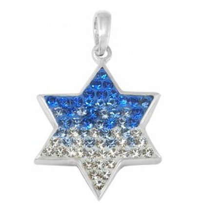 NP8295 - Amazing Israeli Star of David pendant - Blue and White CZ