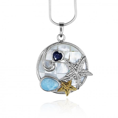[KPG7-LAR-LAP] Oval Larimar and heart shape Lapis Lazuli stones , two star fish