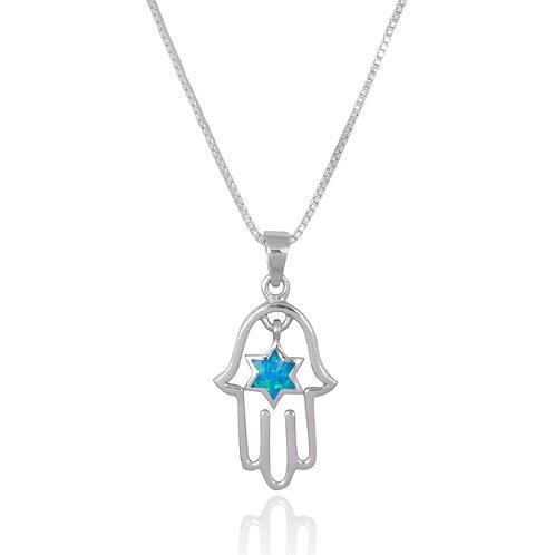 NP3650 - Elegant Hamsa pendant with Star of David S Blue Opal