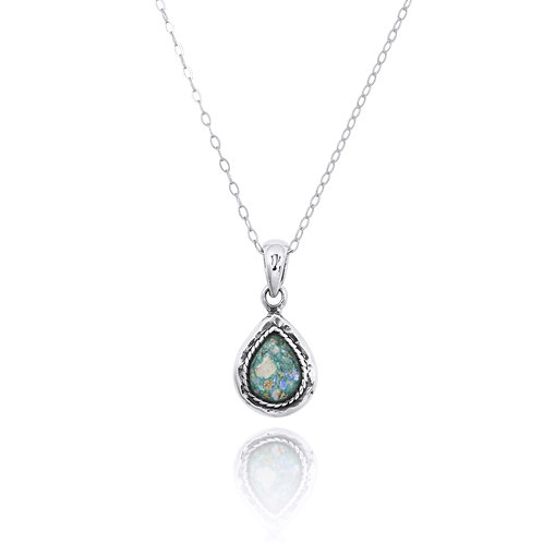 NP12343-RG - Drop Shape Roman Glass Pendant