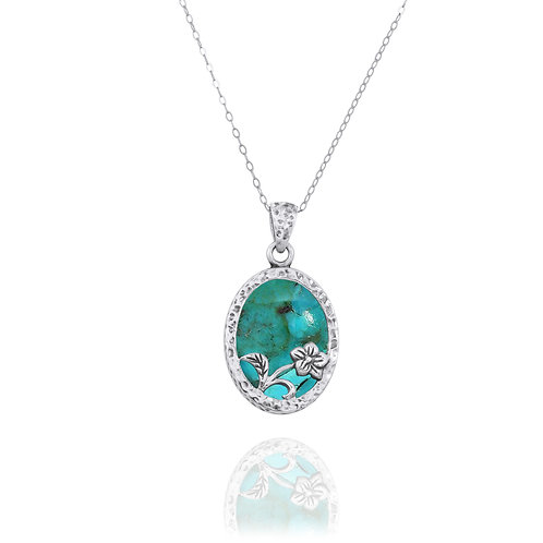 NP8166-GRTQ - Elegant Oval Flower Design Silver Pendant with Turquoise