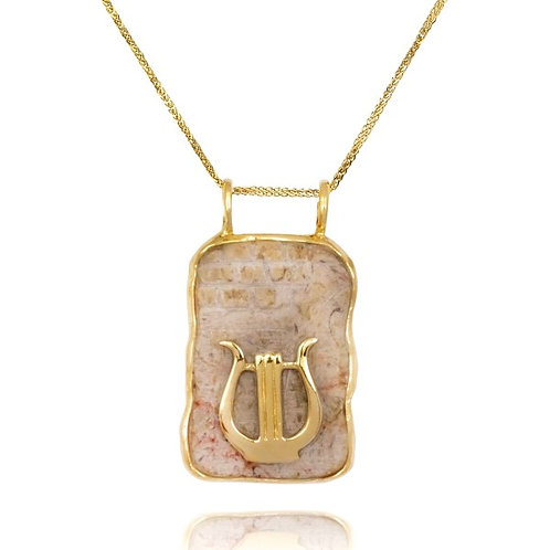 [NP12727-JRSL-14K] Jerusalem Stone Kotel Stone 14K Gold Rectangular Pendant with