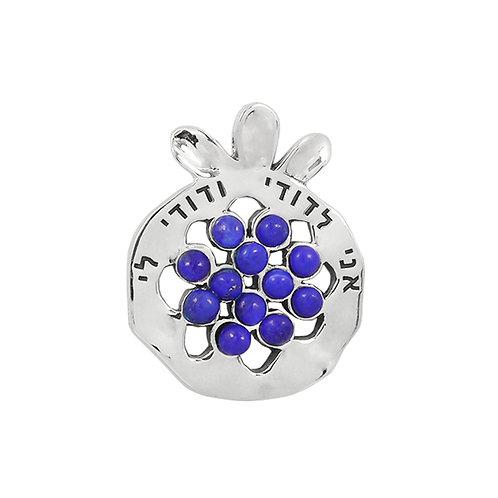 NP11908-LAP -  Elegant Pomegranate Pendant with Lapis Lazuli Pieces and Verse