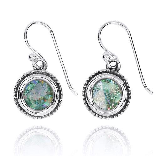 NEA2710-RG -Classic Round Roman Glass Earrings