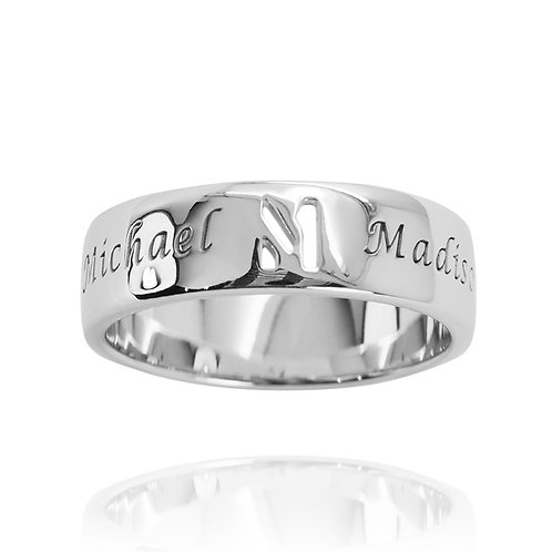 KRG5 - CLASSIC CUT OUT LETTER RING WITH LASER ENGRAVING