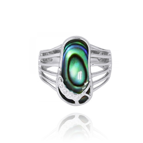 [NRB7784-ABL] Abalone Sandal Sterling Silver Ring with White CZ