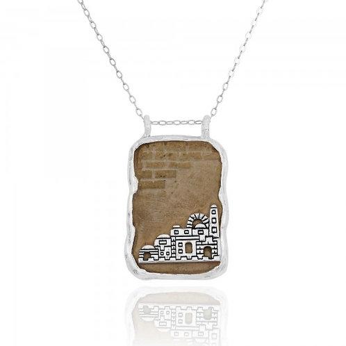 NP11622-JRSL -  Jerusalem Stone Pendant With Sterling Silver Jerusalem Scene