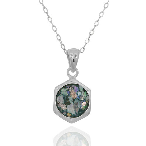 NP12232-RG - Classic Silver Pendant with a Round Peru Roman Glass Piece
