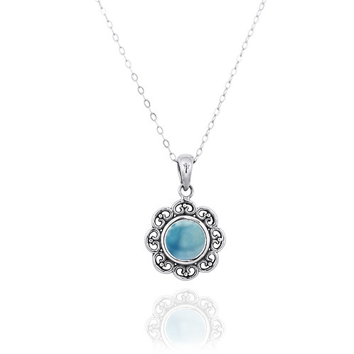 NP12223-LAR - Elegant Flower Silver Pendant with a Round Larimar Piece