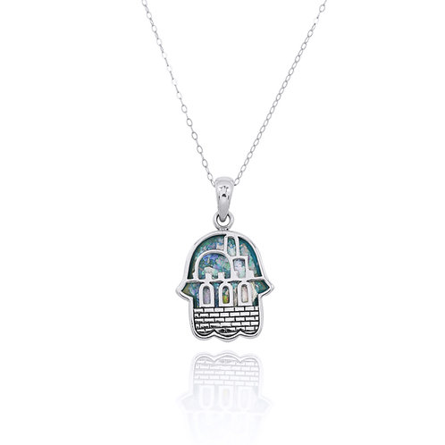 NP11825-RG -Hamsa Pendant with Roman Glass - Old Jerusalem Design