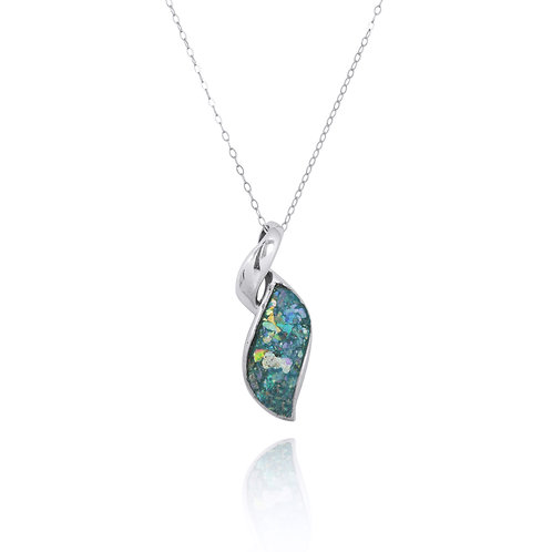 NP8157-RG - Elegant Contemporary Modern Design Silver Pendant with Roman Glass