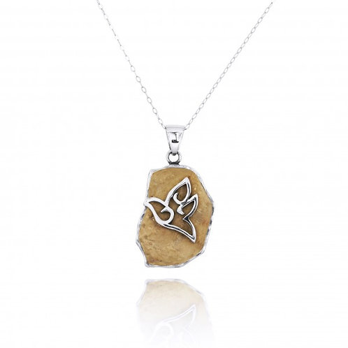[NP11647-JRSL] Jerusalem Stone Pendant With Sterling Silver Dove