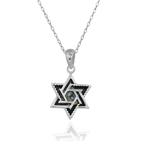 NP12267-RG - Classic and Elegant Star of David Roman Glass Pendant