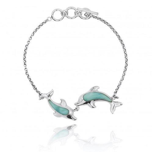 [NB1438-LAR] Playing Dolphins with Larimar Bracelet