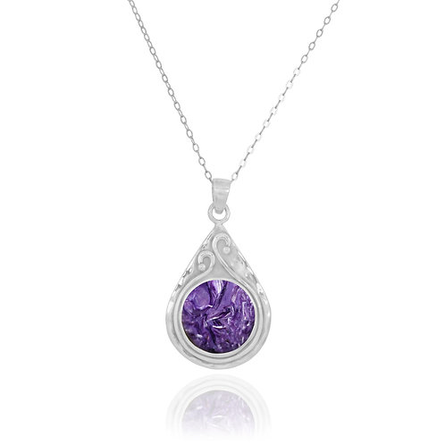NP11604-CHR - Elegant Pear shape Silver Pendant with Round Charoite Piece