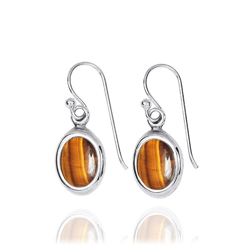 NEA3746-BRTE-Oval Elegant Earrings with Tiger Eye