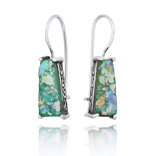 [NEA1496-RG  ] Trapezoid Shape Roman Glass Lever Back Earrings