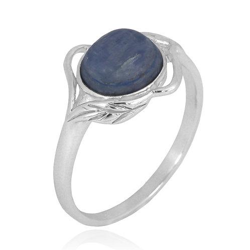 [NRB7481-KYA] Sterling Silver Kyanite Ring with Leaf Patterns