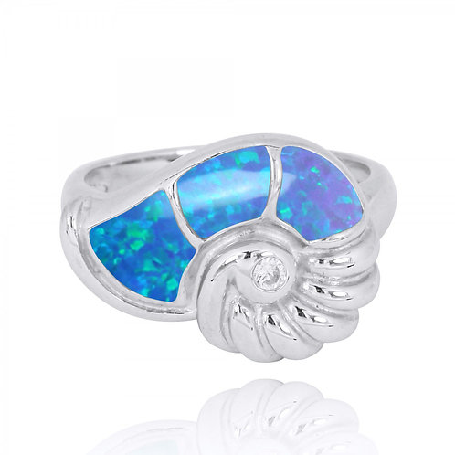 [NRB7776-BLOP] Sterling Silver Seashell Ring with Synthetic Blue Opal and White