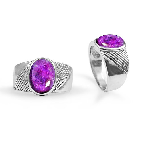 [NRB6796-SUG] Round Shape Sugilite Gemstone Ring