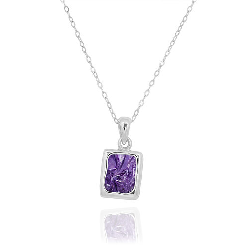 NP12332-CHR- Classic Silver Pendant with a Rectangle Charoite Piece