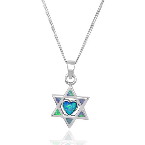 NP2794-BLOP - Classic Star of David with Heart Center -S Blue Opal