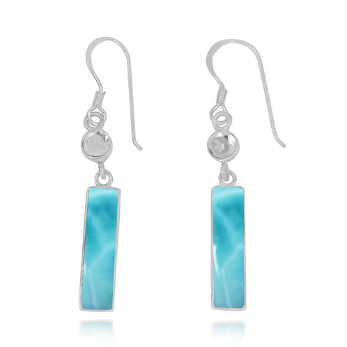 NEA3721-LAR - Classic 2 Part Dangling Earrings with Larimar and White Topaz