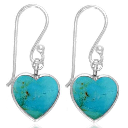 [NEA0242-GRTQ] Heart Shape Turquoise Drop Earrings