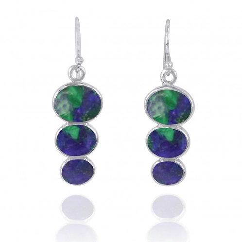 [NEA0331-AZM] Triple Oval Azurite Malachite Sterling Silver Drop Earrings
