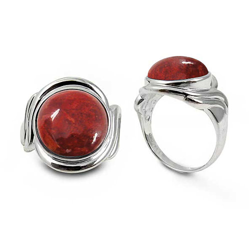 [NRB6617-SPC] Sterling Silver Ring with Round Sponge Coral