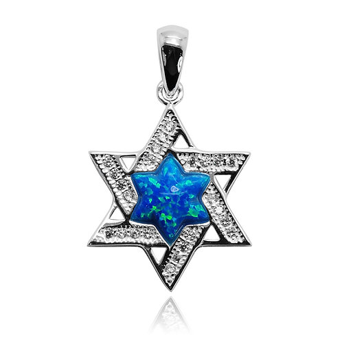 NP9077-OP-R -CZ Star Of David Pendant with S Blue Opal Star in the Center