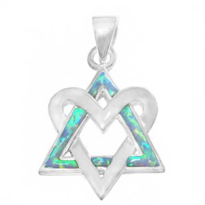NP4609-BLOP - Sterling Silver Heart Star of David Pendant - Gemstone Jewelry