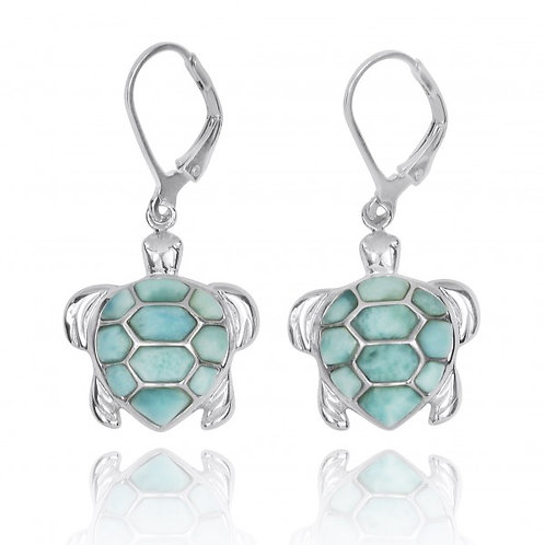 [NEA3140-LAR] Sterling Silver Turtle with Larimar Lever Back Earrings