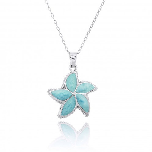 [NP11010-LAR] Sterling Silver Starfish with Larimar Pendant