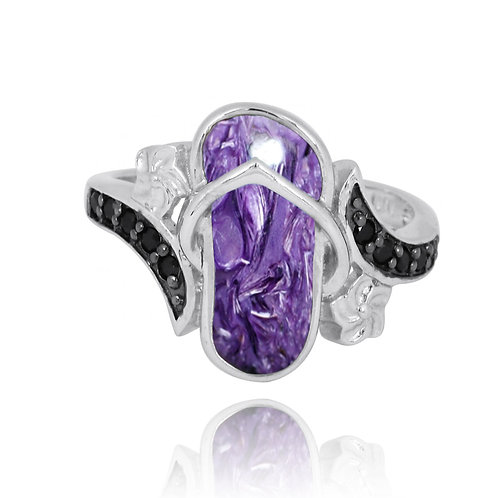 [NRB8365-CHR] Sterling Silver Sandal Ring with Charoite and Black Spinel