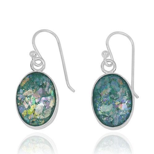 NEA3743-RG -Classic Oval Shape Roman glass Earrings