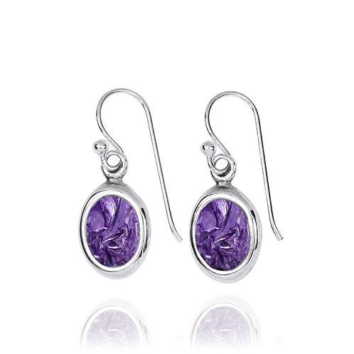 NEA3746-CHR-Oval Elegant Earrings with Charoite Stones